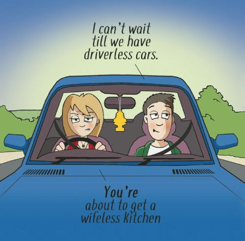 CAN95 - Wifeless Kitchen Funny Greeting Card